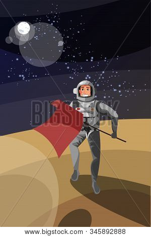 Astronaut On Planet Surface Vector Illustration. Cheerful Cosmonaut In Space Suit Holding Flag Carto