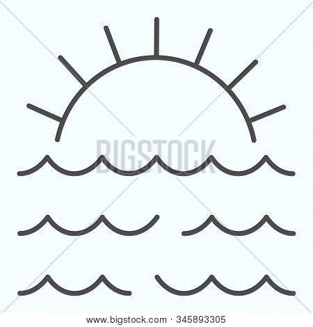 Sunset Thin Line Icon. Sunset And Sea Waves Illustration Isolated On White. Marine Sunset Outline St