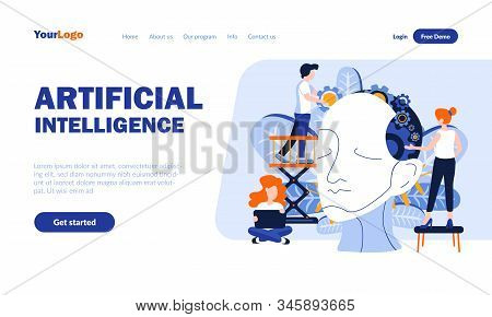 Artificial Intelligence Flat Landing Page Template With Header. Scientific Development Web Banner, H