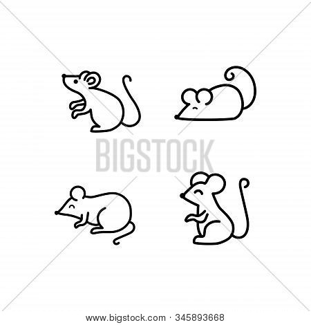 Mouse Vector Icons Set. Line Vector Figure Of Mouse. Vector Outline Forest Animal For Web And Design