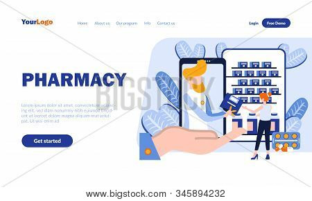 Pharmacy Flat Landing Page Template With Header. Online Drugstore, Medicine Mobile App Web Banner, H