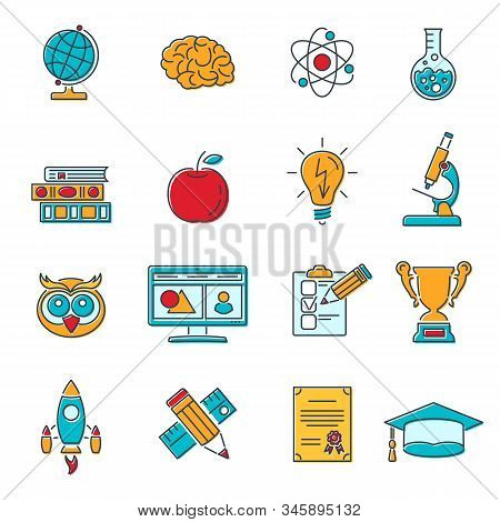 Online Education Colored Lines Web Icon Set For Flyer, Poster, Web Site Like Mortarboard, Books, Bra