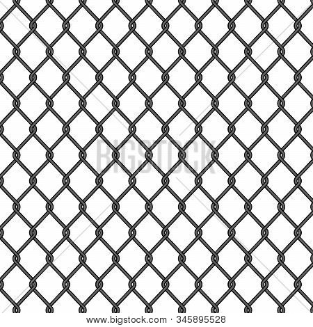 Chain Link, Fence Pattern. Seamless Fence, Metal Cage, Black Iron Mesh. Chainlink Wire Of Prison. Ne