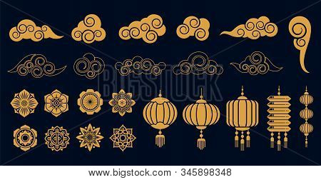 Oriental Elements. Asian Gold Traditional Decoration, Chinese And Japanese, Korean Art Objects. Gold
