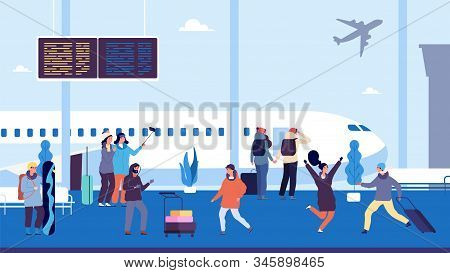 Winter Travel. Passengers Wait Flight, Meet And Escort People. People At Airport With Suitcases. Vec