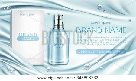 Cosmetics Bottle And Box Mockup Banner, Natural Beauty Cosmetic Product For Face Or Body Care On Blu