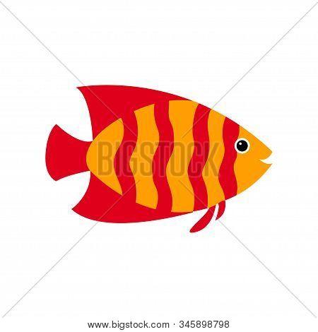 Vector Aquarium Fish Silhouette Illustration. Water Icon. Underwater Ocean Fauna. Colorful Cartoon F