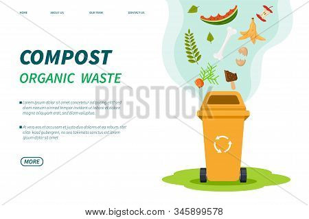 Compost Waste. Composting Bin, Organic Green Trash Box Recycle. Foods Plants Garbage For Garden Fert