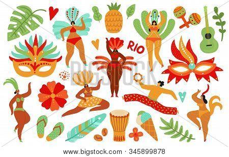 Brazilian Carnival. Latino Male Female, Brazil Costumes. Guitar, Dance Lady And Mask. Show Or Samba