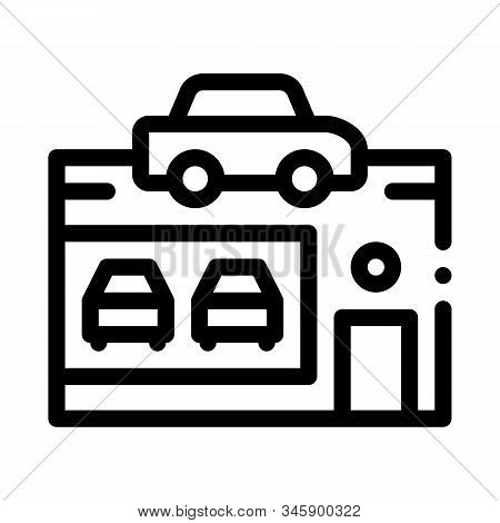 Car Dealer Shop Icon Vector. Outline Car Dealer Shop Sign. Isolated Contour Symbol Illustration