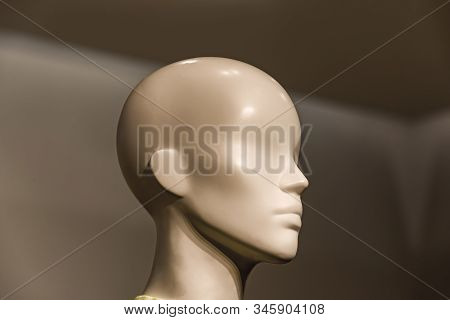 Head Of A White Mannequin At Store Background Mannequin Head