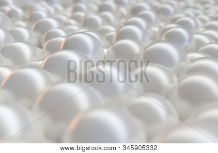 An array of white pearls spread out to form an opulant background - 3D render poster