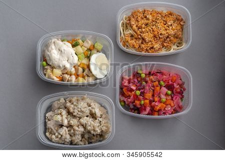 4 Lettuce In Molds For Fast Delivery. Pasta With Minced Meat And Onion In Navy-style And A Jar Of Vi