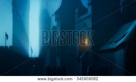 Old Mysterious Castle In The Blue Deep Night. History Fortress Under The Foggy Mood. 3d Illustration