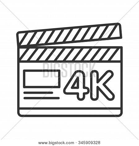 Clapper Board Black Line Icon. 4k Ultra Hd Resolution Movie Shooting. Cinematograph Concept. Pictogr