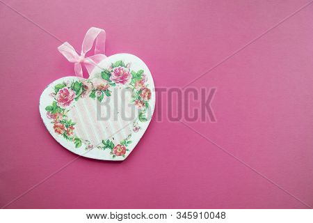 Valentines Card Background - Wooden Heart Decorated In Decoupage Technique Provencal Style On A Pink