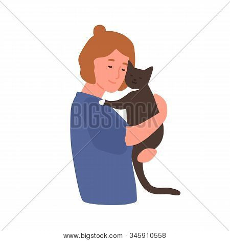 Girl Hugging Cat Flat Vector Illustration. Woman With Kitten Isolated On White Background. Pet And O