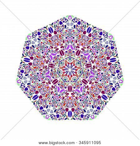 Geometrical Isolated Ornate Flower Heptagon Shape - Geometric Colorful Vector Element