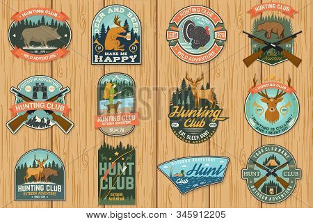Set Of Hunting Club Badge. Vector Concept For Shirt, Label, Print, Stamp, Patch. Vintage Typography