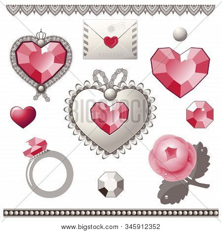 Collection Of Vector Elements For Valentine's Day.