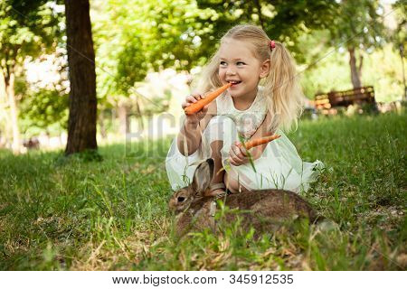 Little Cute Baby Girl Eat Carrots With Fluffy Pet Rabbit, Care And Living With Animal. Healthy Food