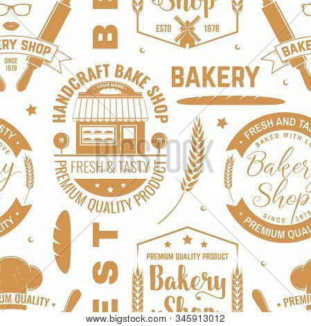 Bakery Shop Seamless Pattern Or Background. Vector Illustration. Seamless Bakery Pattern With With R