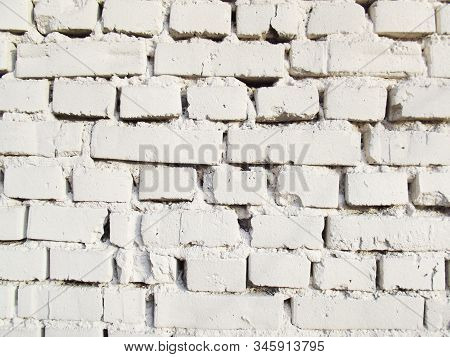 White Brick Wall. Old Texture. Vintage Brickwall Masonry