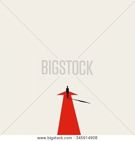 Business Strategy, Moving Forward Vector Concept With Businessman And Straight Arrow. Symbol Of Succ