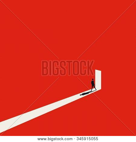 Business Opportunity Or Career Success Vector Concept With Man Walking Into Door With Light. Symbol