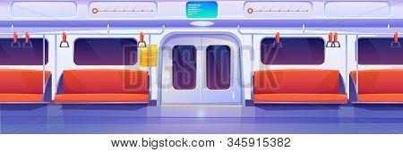 Subway Train Car Inside. Empty Metro Wagon Interior. Vector Cartoon Illustration Of Underground Rail
