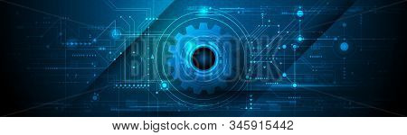 Vector Illustration Gear, Wheel And Circuit Board, Hi-tech Digital Technology And Engineering, Moder