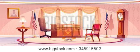 Oval Office In White House. Vector Cartoon Empty Interior Of American Presedent Cabinet With Vintage
