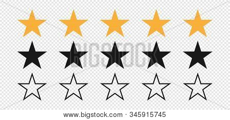 Star. Stars Rating. Set Of Five Stars Yellow And Black Color. Quality Symbol. Feedback Concept. Line