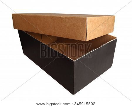 An Open Cardboard Box, Isolated On White Background. Clipping Path Included.