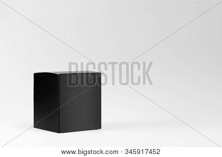 Square Elegant Black Blank Paper Box Side View On White Background, Mock Up Of Packing For Branding
