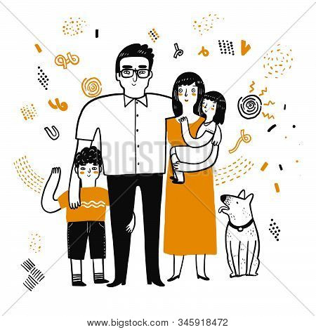 The Drawing Character Of Family. The Appearance And Lifestyle. Collection Of Hand Drawn. Vector Illu