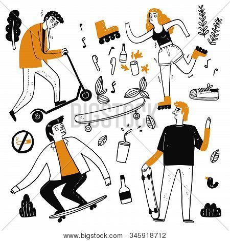 The Drawing Character Of People Are Skateboarding. Collection Of Hand Drawn. Vector Illustration In