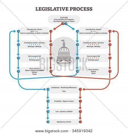 Legislative Process Outline Diagram Explanation Scheme, Vector Illustration. Government Congress And