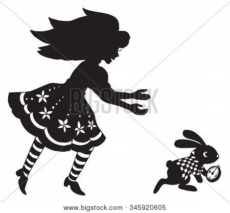 The Silhouette Of Alice And The Rabbit. Beautiful Picture For Paper Cutting Or Engraving. Print For