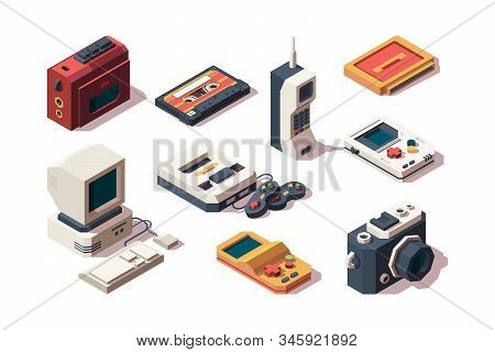 Retro Devices. Cell Phone Old Smartphone Cameras Photo Vhs Music And Game Console Player Computer Ve