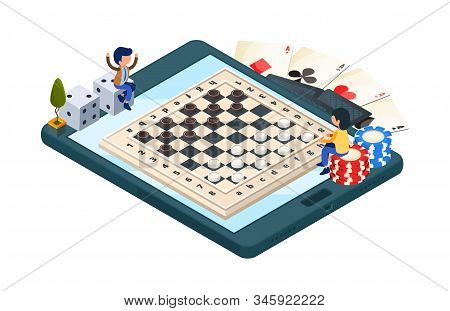 Online Board Game. Isometric Phone With Checkers Game. Vector Gamers Characters, Dice, Cards. Illust