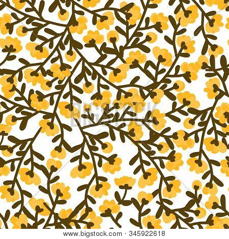 Flower Seamless Vector Pattern On White Background. Tiny Autumn Tone Flowers Seamless Pattern. Flora