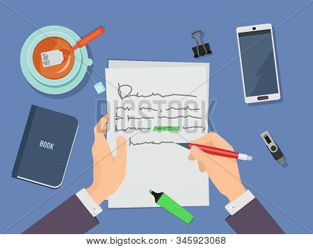 Letter Writing. Author Hands Holding Pencil And Writing Poem On Paper Vector Concept. Author Letter,