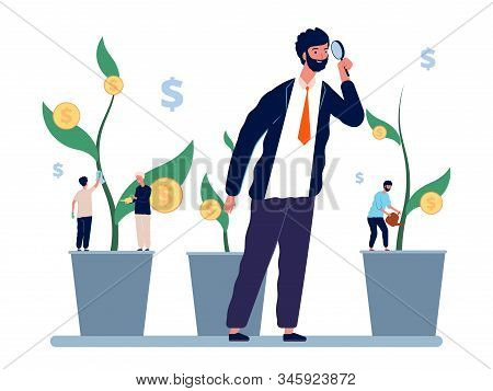 Investment Management. Businessman Investor Explores Income Growth. Manager And Employees, Business