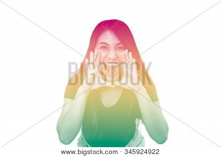 Young Ethnic Girl, Shouting To Camera With Duotone Multi Coloured Rainbow Effect - Diverse Millennia