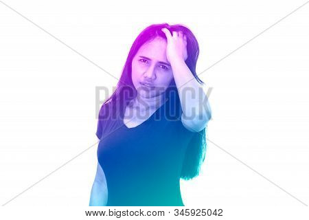 Diverse Asian Woman With Hand On Head Looking At Camera Isolated On White Background - Duotone Gradi