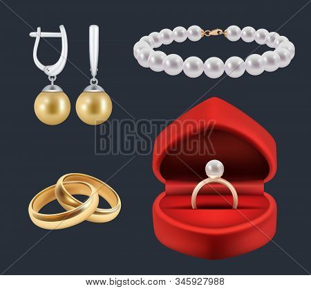 Wedding Rings. Gold Trappings In Decoration Red Packs Glossy Jewelry Vector Realistic Set. Illustrat
