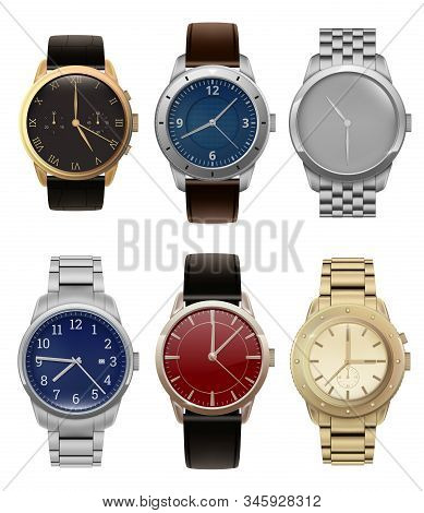 Wristwatches. Realistic Luxury Silver And Golden Men Watches With Modern Steel Bracelets Fashion Vec