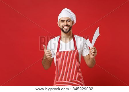 Smiling Young Male Chef Cook Or Baker Man In Striped Apron White T-shirt Toque Chefs Hat Isolated On