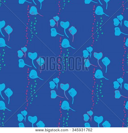 Vector Seamless Pattern Ginko Wax With Blue Ginkgo Leaves And Pink Dots, Turquoise Background